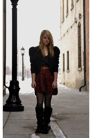 black vintage jacket - black Old Navy top - brown vintage belt - red DIY skirt -