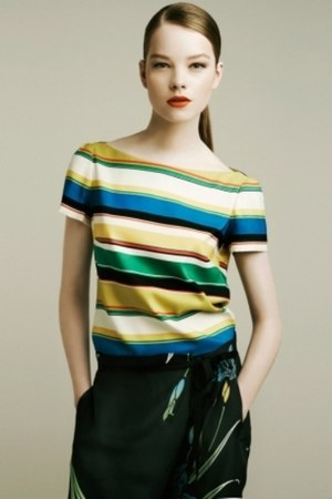 stripes Zara blouse - printed Zara skirt