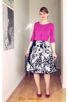 magenta faux leather tchibo heels - black cotton made by me dress