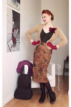 leather Fly London shoes - leather Ochnik bag - cotton velvet made by me skirt