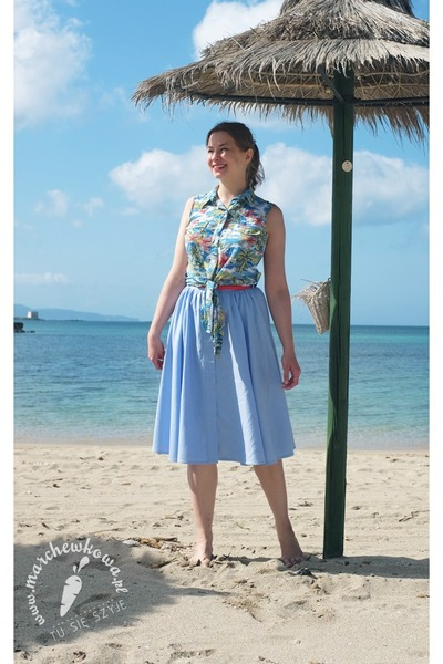 sky blue cotton second-hand shirt - sky blue cotton made by me skirt