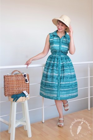 turquoise blue cotton handmade dress - ivory straw Made in Malta hat