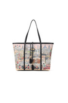 Printed Shoulder Bag Tote with Tassels