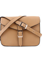 "Leather Mini Satchel 10"" Crossbody Bag-Apricot"