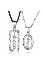 925 Sterling Silver Couple Necklace Hollow &quot;Love&quot; Letters Rectangle&amp;Oval Shaped 