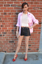 ivory H&M shirt - bubble gum shirt - black leather H&M shorts - red Zara heels