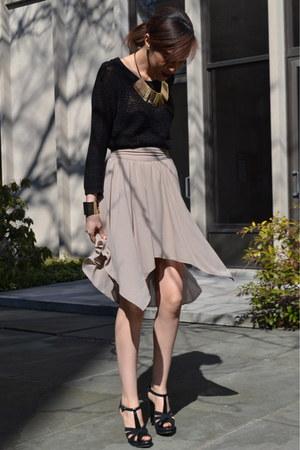 asymmetric Urban Outfitters skirt - H&M sweater - Aldo heels
