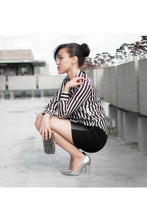 silver shoemint heels - white Zara blouse - black faux leather Zara skirt