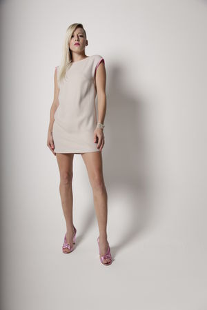 beige Cavortress dress - pink Diane Von Furstenburg shoes - white accessories