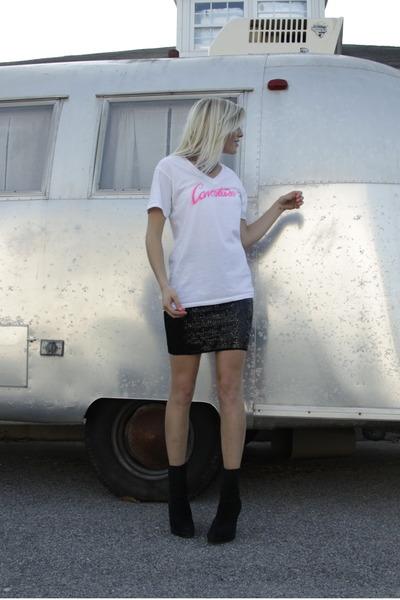 black Steve Madden boots - black Cavortress skirt - white Cavortress shirt