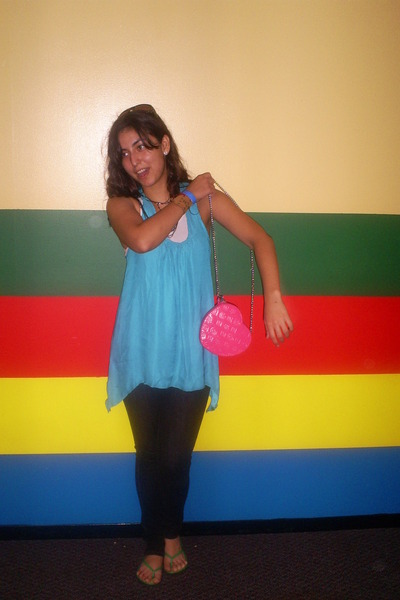 pink Claires bag - green Dollar Tree shoes - blue high wasted Forever 21 jeans