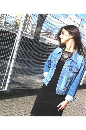 denim REPLAY jacket - black max&amp;co dress - golden Stradivarius necklace