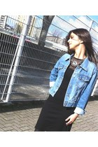 denim REPLAY jacket - black max&co dress - golden Stradivarius necklace