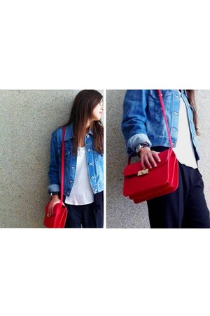 red Mango bag - denim REPLAY jacket - black Mango pants - white Mango t-shirt