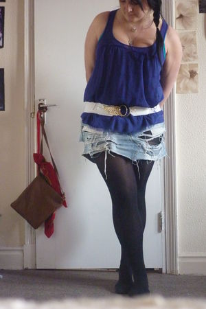 blue Topshop top - blue River Island skirt - black H&M tights