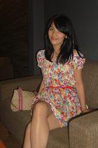 white H&M dress - red Mango belt