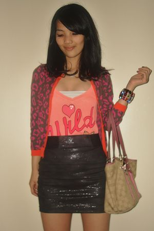 orange Wildfox t-shirt - brown next cardigan - black Zara skirt