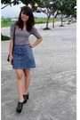 Black-leather-philippe-charriol-bag-black-striped-top-blue-denim-gap-skirt