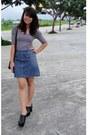 Black-leather-philippe-charriol-bag-black-striped-top-blue-denim-gap-skirt