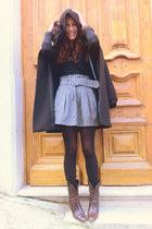 Stradivarius boots - hooded Zara coat - poise bag - Mango blouse