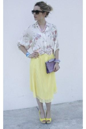Forever21 skirt - Celine sunglasses - new look blouse - Forever21 necklace