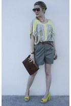 H&M shirt - H&M sunglasses - Hermes watch - H&M heels - H&M necklace