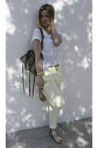 H&M t-shirt - Pimkie jeans - balenciaga bag - H&M sandals - Manoush belt