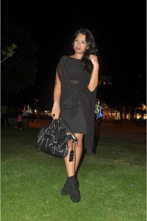 satchel bag - black socks - black wedges - black bodycon skirt - black sheer top