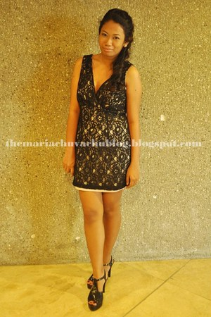 black shoes - black lace Forever 21 dress