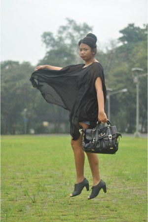 black sheer blouse - black shoes - black bag