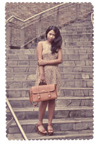 tawny shoes - light brown dress - tawny bag