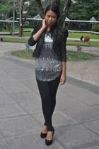 black random brand blazer - silver random brand blouse - dark gray random brand