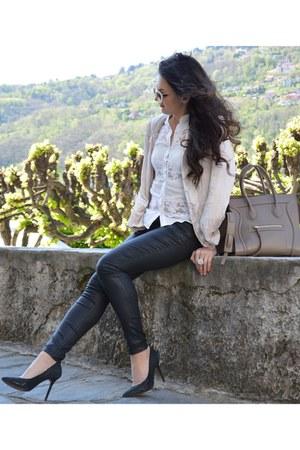 ivory lace panels La Donna shirt - light pink Zara blazer