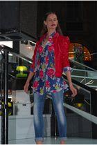 red Kocca blazer - blue Kocca shirt - blue Kocca jeans