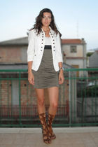 white Zara blazer - white Bershka top - green H&M skirt - orange handmade sandal
