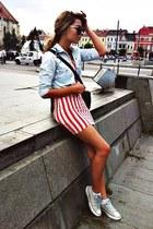 striped H&M dress - denim Zara shirt - H&M bag