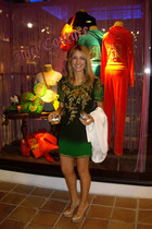 green Matthew Williamson dress - nude Uterqe bag - beige cesare paciotti heels -