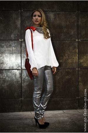 silver Zara pants - black Zara pumps - off white Purificacion Garcia blouse