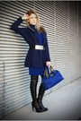 Black-zara-boots-blue-versace-jeans-dress