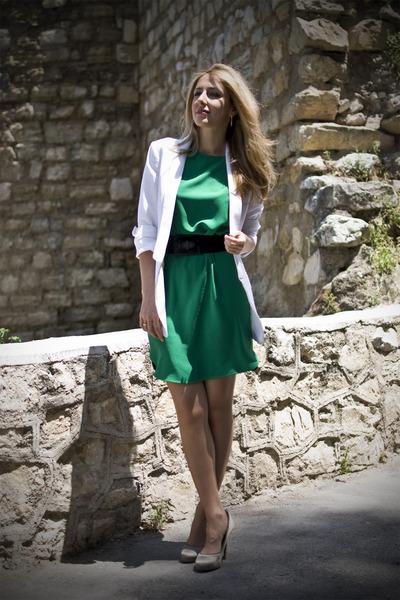 white white blazer Zara blazer - chartreuse silk dress Zara dress