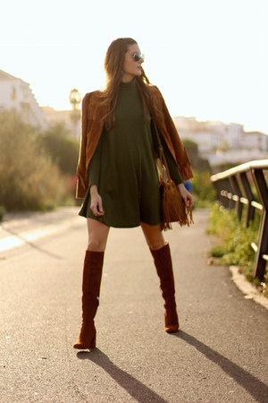Zara boots - Sheinside dress - bridas bag