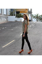 gold Zara blouse - black Zara leggings - carrot orange Stradivarius heels
