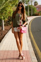 hot pink BLANCO bag - beige xti shoes - light purple Zara shorts