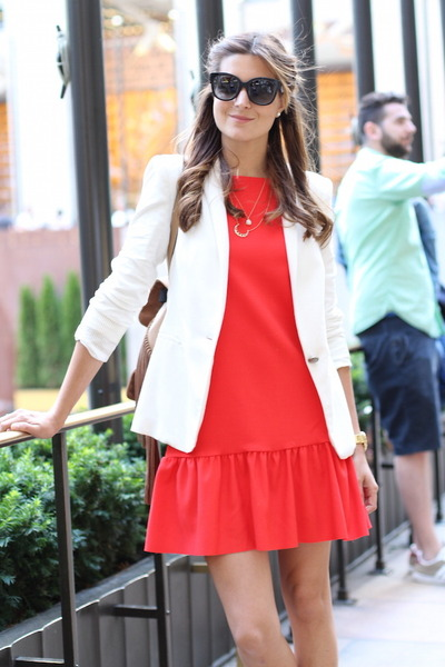 Zara dress - Zara blazer - christian dior sunglasses