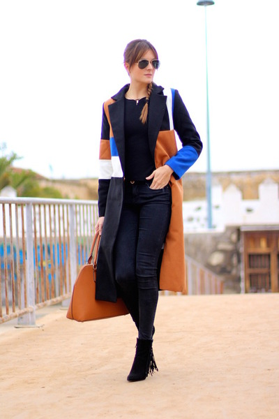 Sheinside coat - Zara jeans - Bershka t-shirt