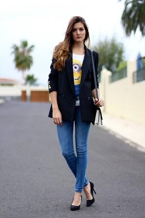 Sheinside t-shirt - Mango blazer - PERSUNMALL bag