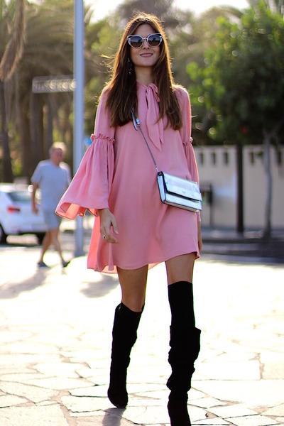 Zara boots - shein dress - Guess bag - Fendi sunglasses