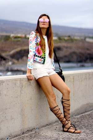 romwe jacket - Mango shorts - Mango sandals - shein blouse