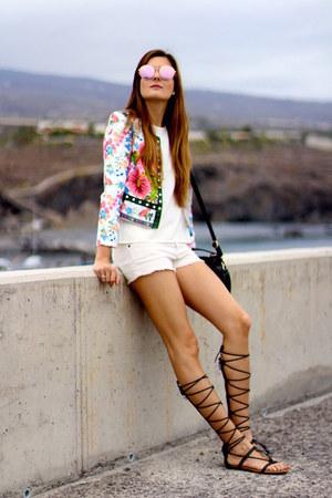 romwe jacket - Mango shorts - Mango sandals - shein blouse