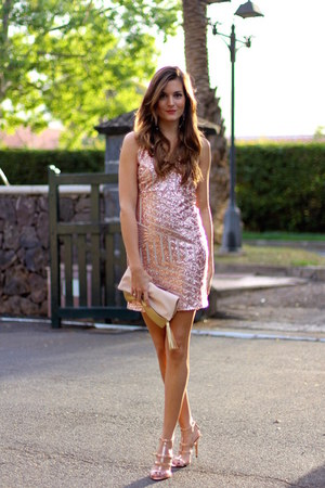 Sheinside dress - Mango heels - H&M earrings